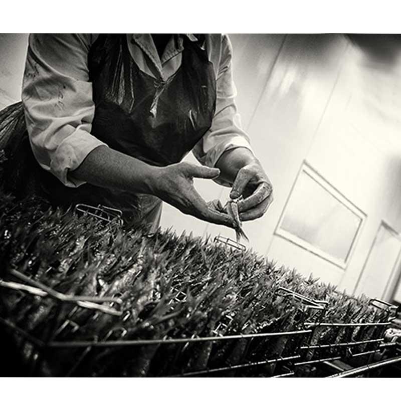 photo d archive LA PERLE DES DIEUX, travail à la main pour mettre les sardines dans les conserves