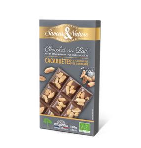 tablette de chocolat Saveurs et Nature, photo Saveurs et Nature, chocolat cacahuètes