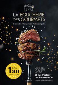 La Boucherie des Gourmets, boucherie bio LES PONTS DE CE affiche anniversaire