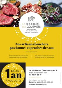La Boucherie des Gourmets, boucherie bio LES PONTS DE CE flyer anniversaire